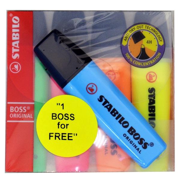 ΜΑΡΚΑΔΟΡΟΣ ΥΠΟΓΡΑΜΜΙΣΗΣ BOSS 70/4 STABILO ~ 2-5mm Σετ 4τεμ+1 ΔΩΡΟ Είδη Υπογράμμισης  ειδη γραφειου, αναλωσιμα, γραφικη υλη - paperless.gr