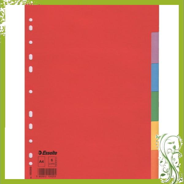 ΔΙΑΧΩΡΙΣΤΙΚΑ ΧΑΡΤΙΝΑ Α4   6 ΘΕΜΑΤΑ ΧΡΩΜΑΤΙΣΤΑ RECYCLED ESSELTE Διαχωριστικά ειδη γραφειου, αναλωσιμα, γραφικη υλη - paperless.gr