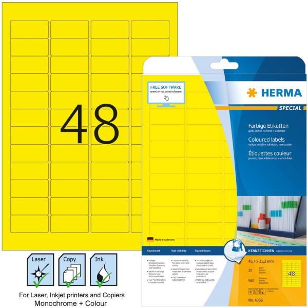 Ετικέτες Laser/Copier/Inkjet 45,7x 21,2 mm 20 φύλλα Κίτρινο 4366 Herma Χάρτινες ετικέτες ειδη γραφειου, αναλωσιμα, γραφικη υλη - paperless.gr