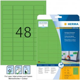 Ετικέτες Laser/Copier/Inkjet 45,7x 21,2 mm 20 φύλλα Πράσινο 4369 Herma Χάρτινες ετικέτες ειδη γραφειου, αναλωσιμα, γραφικη υλη - paperless.gr