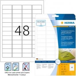 ΕΤΙΚΕΤΕΣ LASER/COPIER  45,7x 21,2 ΔΙΑΦΑΝΕΣ glos 25ΦΥΛ HERMA 8016 Διαφανείς ετικέτες ειδη γραφειου, αναλωσιμα, γραφικη υλη - paperless.gr