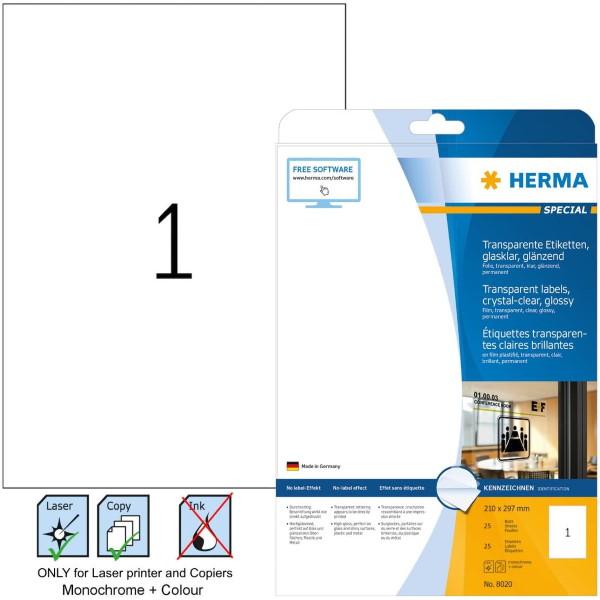 Ετικέτες laser/copier 210,0x297,0 διαφανές glossy 25 φύλλα herma 8020 Διαφανείς ετικέτες ειδη γραφειου, αναλωσιμα, γραφικη υλη - paperless.gr