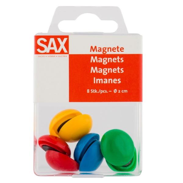 Μαγνήτες στρογγυλοί διάμετρος 2 εκ. χρωματιστοί 8 τεμάχια sax  Αξεσουάρ για Πίνακες ειδη γραφειου, αναλωσιμα, γραφικη υλη - paperless.gr