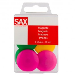 Μαγνήτες στρογγυλοί διάμετρος 3 εκ. χρωματιστοί 6 τεμάχια sax Αξεσουάρ για Πίνακες ειδη γραφειου, αναλωσιμα, γραφικη υλη - paperless.gr