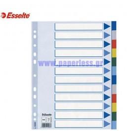 ΔΙΑΧΩΡΙΣΤΙΚΑ ΠΛΑΣΤΙΚΑ Α4  12 ΘΕΜΑΤΑ ΧΡΩΜΑΤΙΣΤΑ ESSELTE Διαχωριστικά ειδη γραφειου, αναλωσιμα, γραφικη υλη - paperless.gr