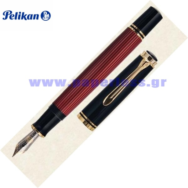 M600 SOUVERAN BLACK RED FOUNTAIN PEN PELIKAN ΠΕΝΑ Στυλογράφοι-Πένες ειδη γραφειου, αναλωσιμα, γραφικη υλη - paperless.gr