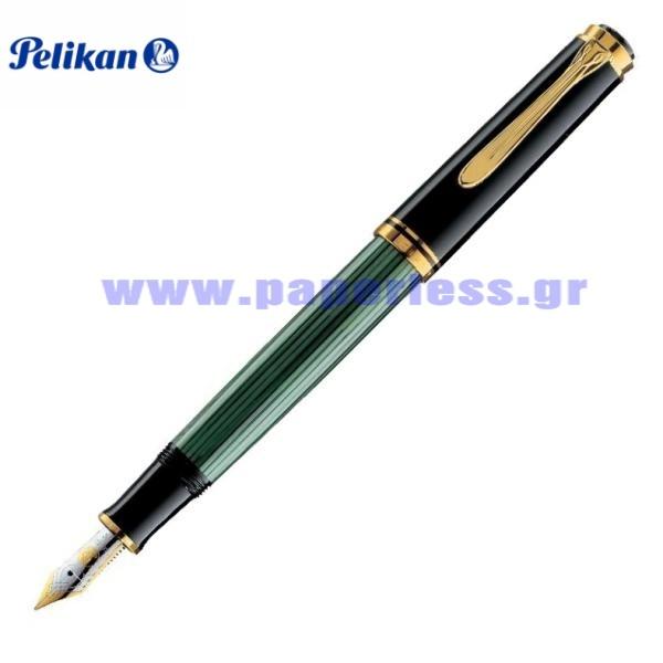 M800 SOUVERAN BLACK GREEN FOUNTAIN PEN PELIKAN ΠΕΝΑ Στυλογράφοι-Πένες ειδη γραφειου, αναλωσιμα, γραφικη υλη - paperless.gr