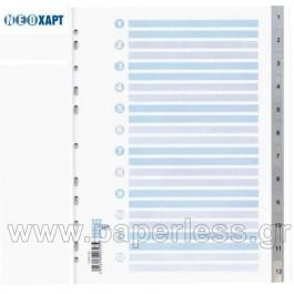 ΔΙΑΧΩΡΙΣΤΙΚΑ ΠΛΑΣΤΙΚΑ Α4 1-12 ΑΡΙΘΜΗΤΙΚΑ ΓΚΡΙ ΝΕΟΧΑΡΤ 323 Διαχωριστικά ειδη γραφειου, αναλωσιμα, γραφικη υλη - paperless.gr