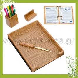 ΣΕΤ ΓΡΑΦΕΙΟΥ ΞΥΛΙΝΟ 5 ΤΕΜΑΧΙΩΝ Δίσκοι Γραφείου-Σετ Γραφείου ειδη γραφειου, αναλωσιμα, γραφικη υλη - paperless.gr