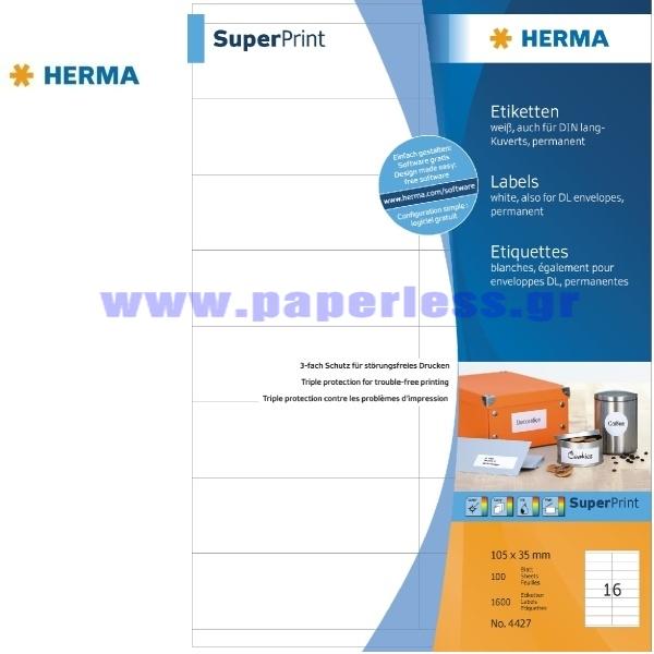 ΕΤΙΚΕΤΕΣ Laser/Copier/InkJet 105,0Χ 35,0 100 ΦΥΛΛΑ 4427 HERMA Χάρτινες ετικέτες ειδη γραφειου, αναλωσιμα, γραφικη υλη - paperless.gr