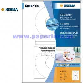 ΕΤΙΚΕΤΕΣ Laser/Copier/InkJet CD/DVD MATT 100 ΦΥΛΛΑ 4471 HERMA για CD-DVD ειδη γραφειου, αναλωσιμα, γραφικη υλη - paperless.gr