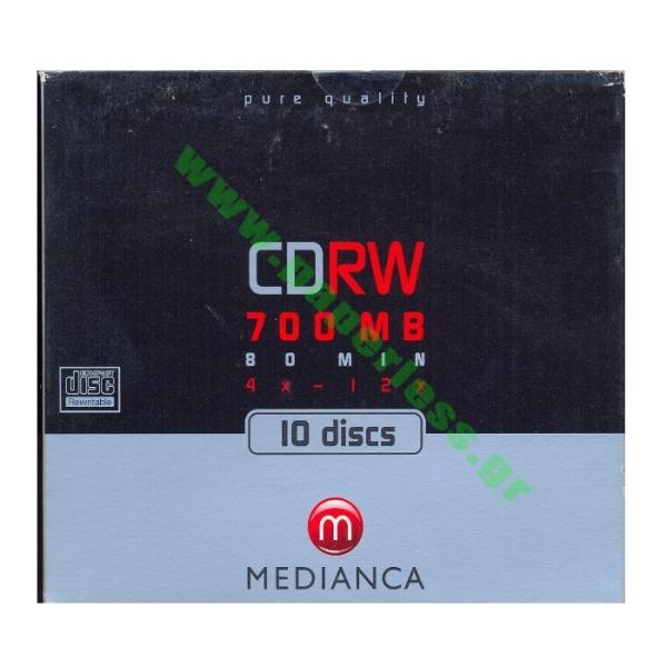 CD-RW MEDIANCA 12x 80MIN/700MB JEWEL CASE MEDIANCA CD - DVD - ΔΙΣΚΕΤΕΣ ειδη γραφειου, αναλωσιμα, γραφικη υλη - paperless.gr